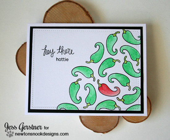 Hey There Hottie Card by Jess Gerstner | Love à la Carte Stamp Set by Newton's Nook Designs