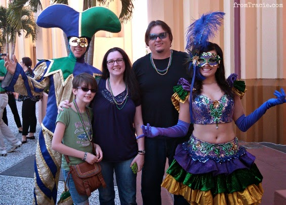 Nall Family With Mardi Gras Characters