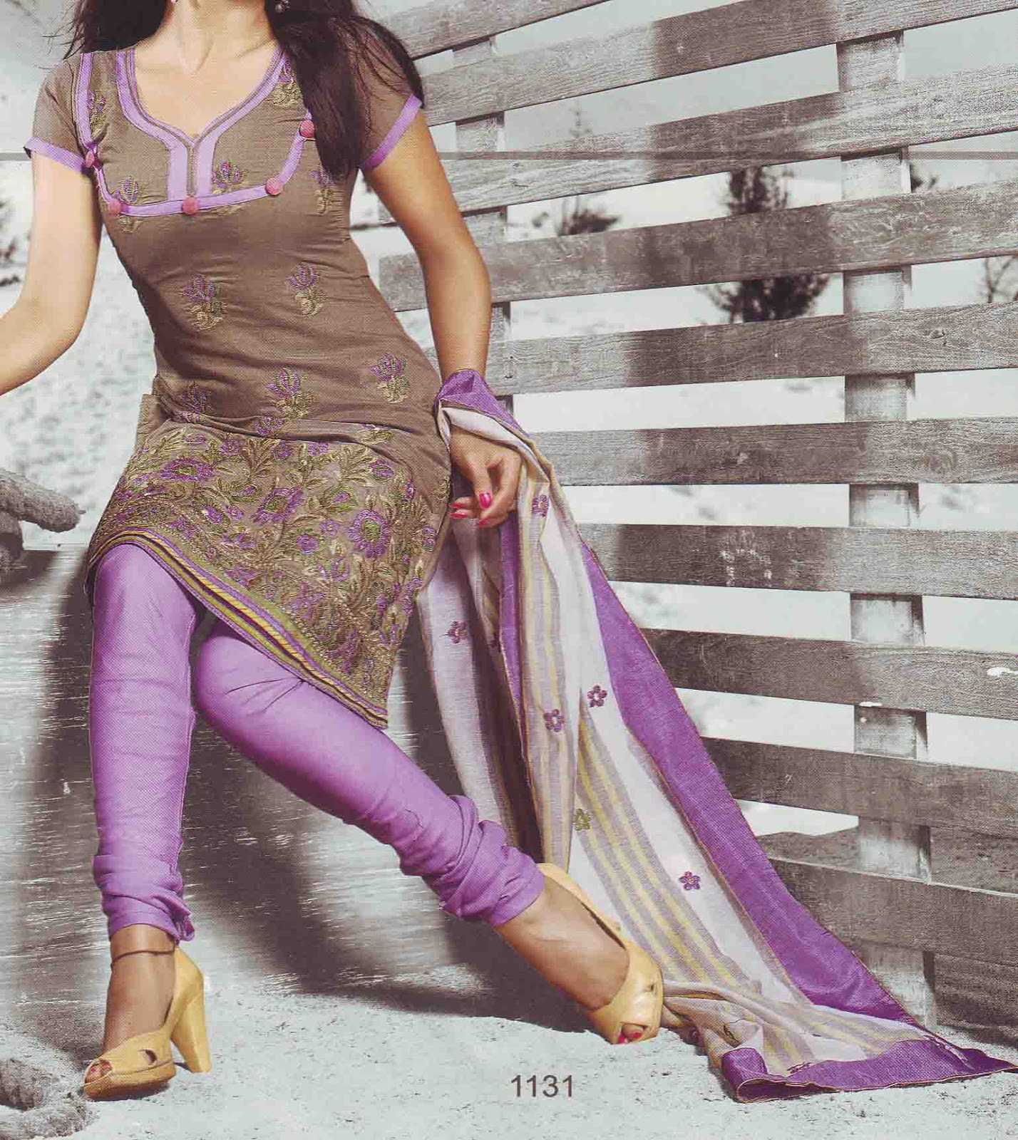 Aashya collections unstitched pure chanderi dress - Brown and violet combination ...