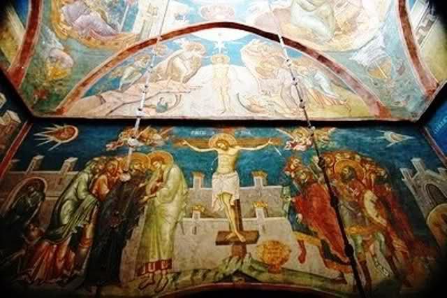 Fresken aus dem Jahr 1350 im Jugoslawischen Kloster Visoki Dečani