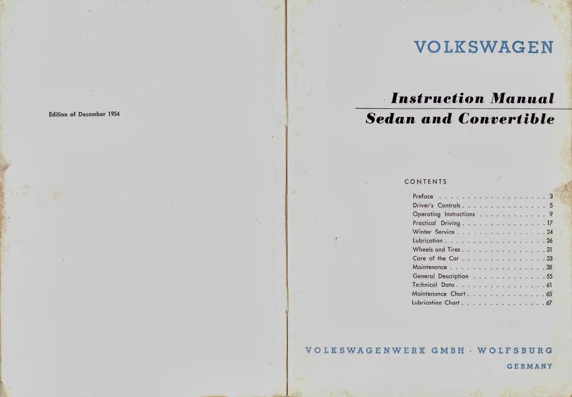 Instruction manual vw Old Beetle sedan and convertible 1954