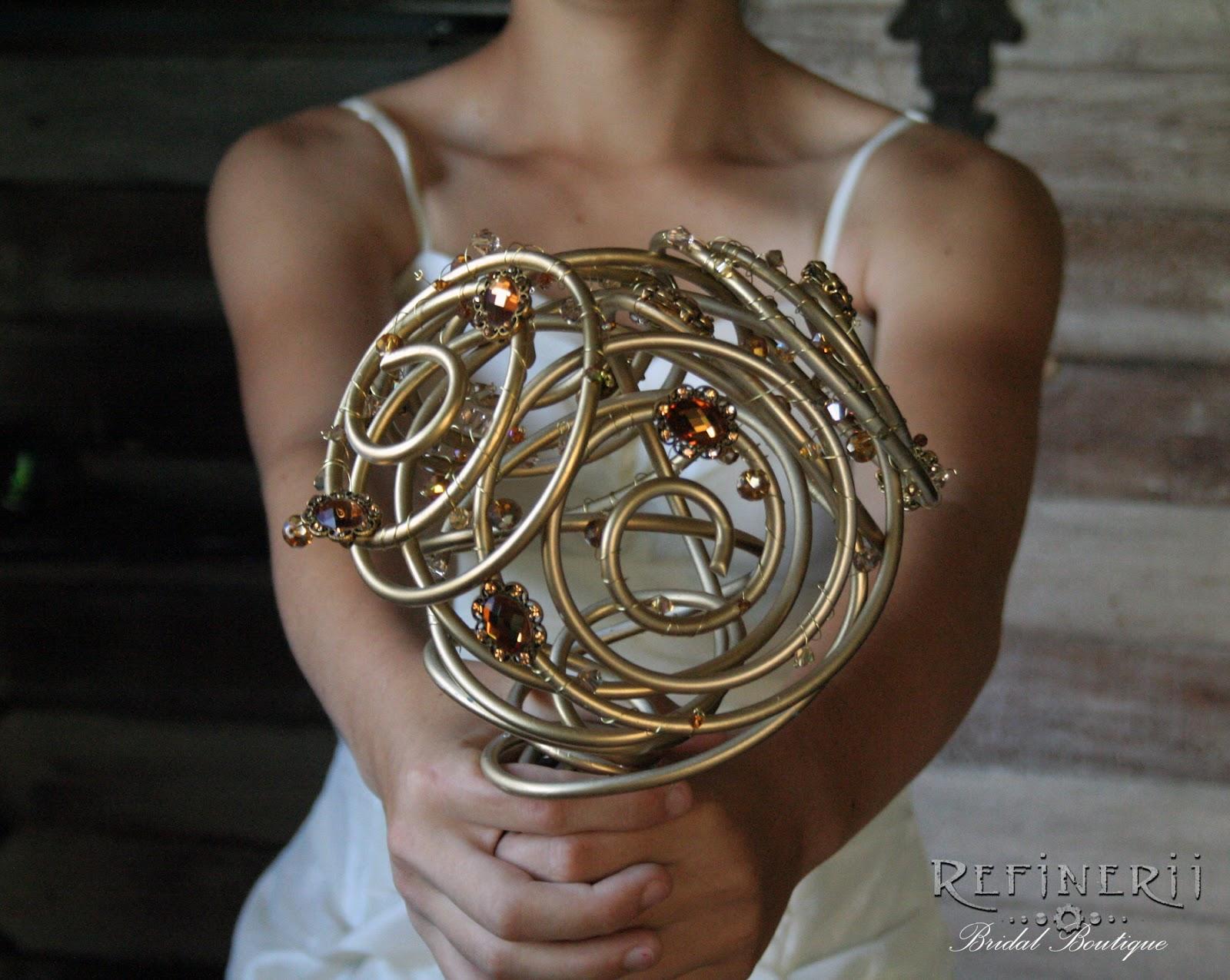 Golden Bridal Bouquet : Refinerii studios new alternative wedding bouquets made