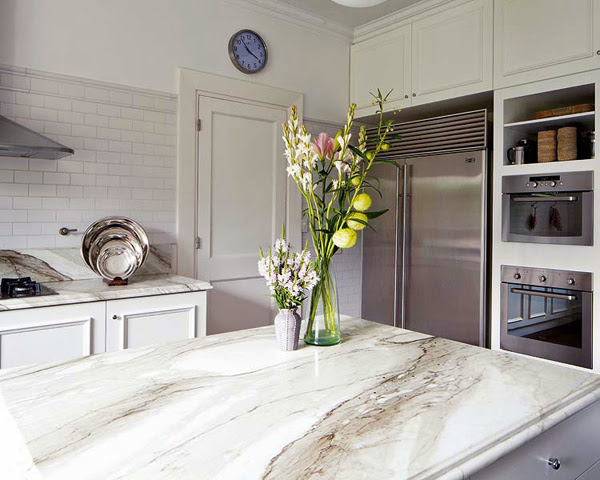 beautiful luxury kitchen design with marble counter top