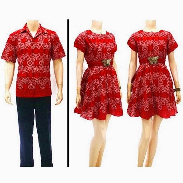 Model Baju Pasangan Batik  Sarimbit Dress Chibi Sekar Merah