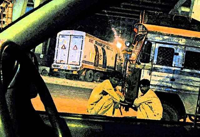 truck drivers sitting illustration