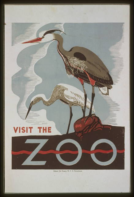 animal poster, wildlife, vintage, vintage posters, free download, retro prints, classic posters, graphic design, pennsylvania, Visit the Zoo - Vintage Animal Poster