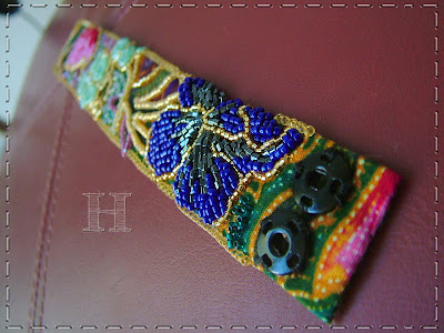Beaded Batik Cuff - ClearyHelena