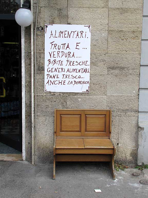 Bench outside a grocery shop, Livorno