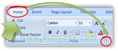 Gambar: Cara memunculkan dialog Format Cells melalui ombol toolbar di ribbon Home Microsoft Excel
