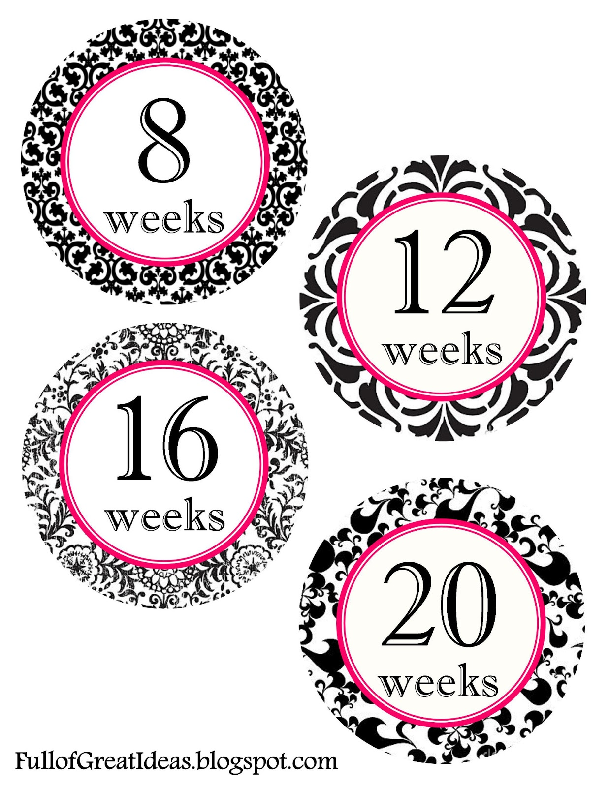 Printable Weekly Pregnancy Stickers