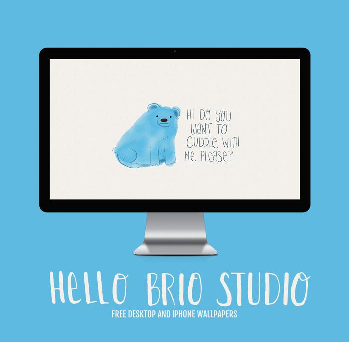 Free Doodled Bear Wallpaper Backgrounds for Desktop and iPhone - HelloBrio.com