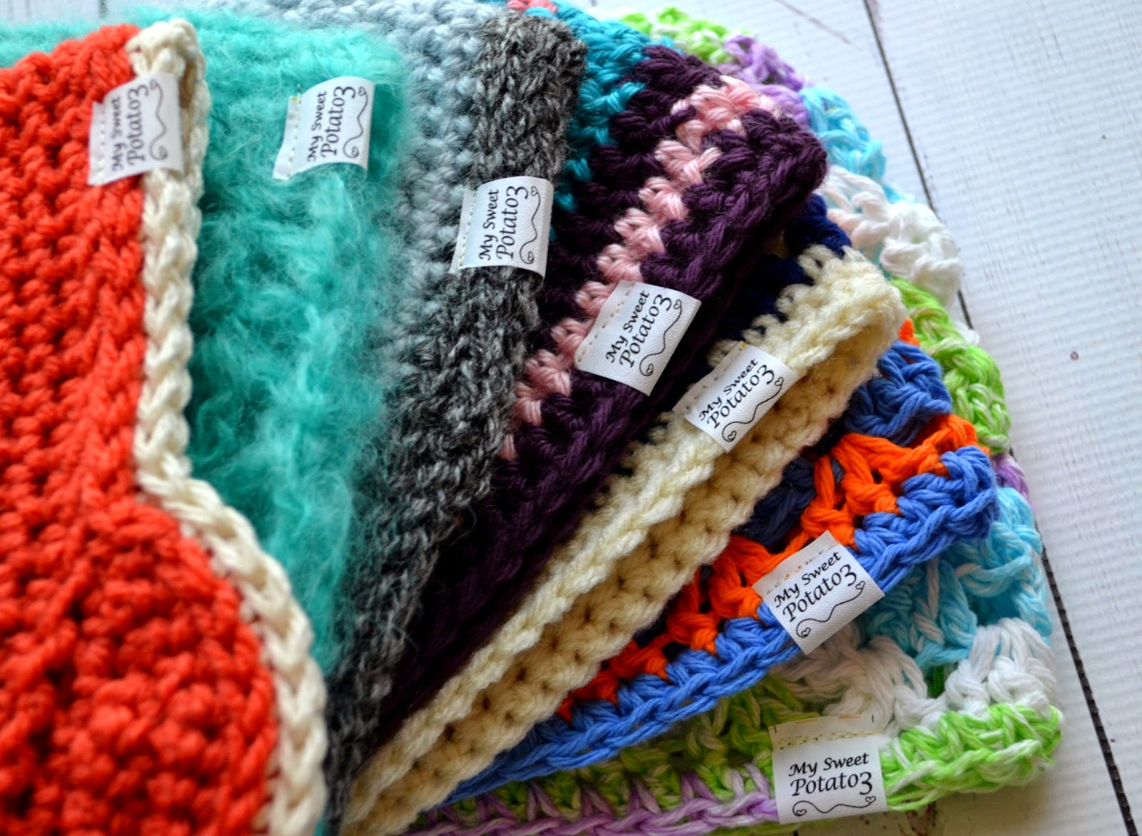 Crocheting Items : My Sweet Potato 3: Adding Fabric Labels to your Crochet Items