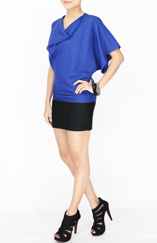 Cobalt Rare One Sleeve Top with Drape Neck