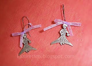 Χειροποίητα σκουλαρίκια μικρός πρίγκηπας με μωβ φιόγκο