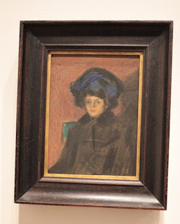 "Photograph of Picasso Painting in the AIC exhibit ""Young Woman with a Hat Paris, 1900."""