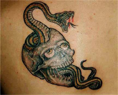 3D Snakes Tattoo on Neck