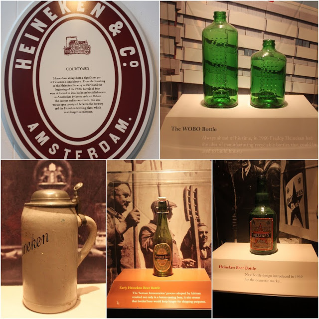 Different design of bottle packaging for Heineken throughout the generations at Heineken Experience Museum in Amsterdam, Netherlands