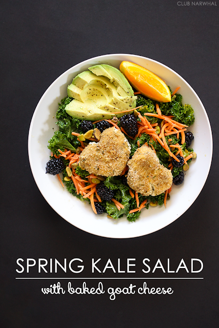 Spring Kale Salad with Baked Goat Cheese   Club Narwhal