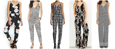 Forever 21 Satin Floral Jumpsuit $19.80 ChicNova Sleeveless Pattern Print Jumpsuit $29.64 (regular $32.93)  Romeo & Juliet Couture Plaid Sleeveless Wrap Jumpsuit $39.50 (regular $79.00)  Love Sadie Lace Trim Wide Leg Jumpsuit $49.99 (regular $79.00) similar  White House Black Market Sleeveless Printed Wide Leg Jumpsuit $49.99 (regular $140.00) if you can wear a size 0 or 14, this one is super cute too!