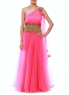 Trendy Zeeia Royal Blue Anarkali Gown | Coral Pink Net Gown