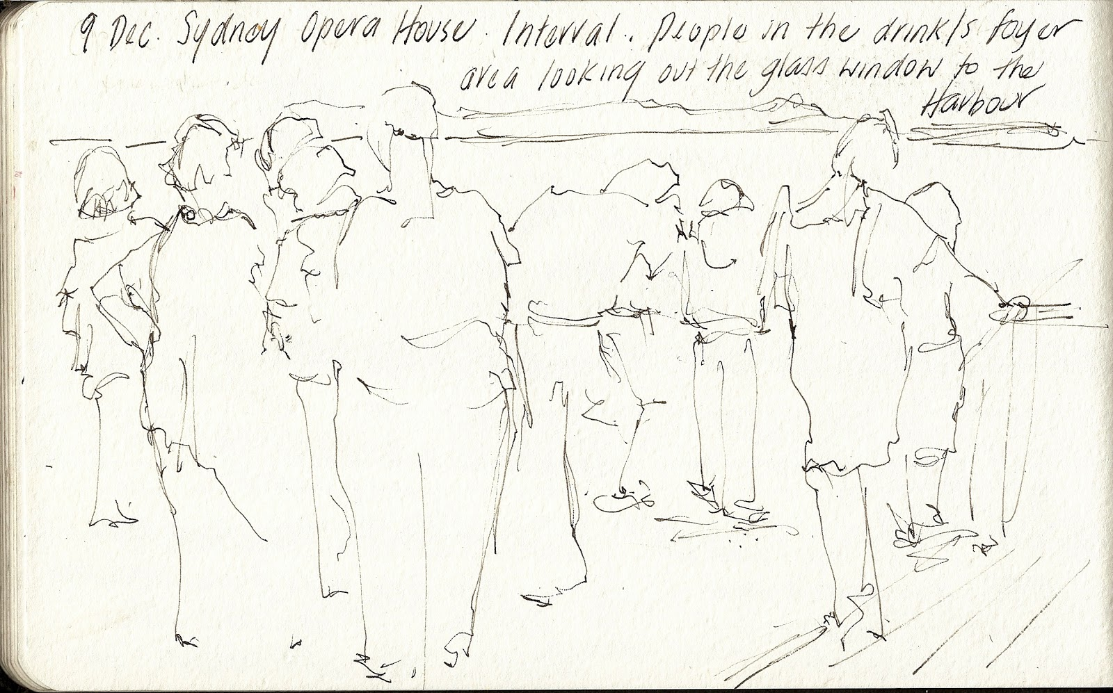 And finally during the concert group of about 12 singers moved onto the stairs infront of me their silhouettes were too tempting to draw and i got my pens