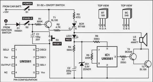 Anti Theft Alarm for Vehicles Wiring diagram Schematic Circuit