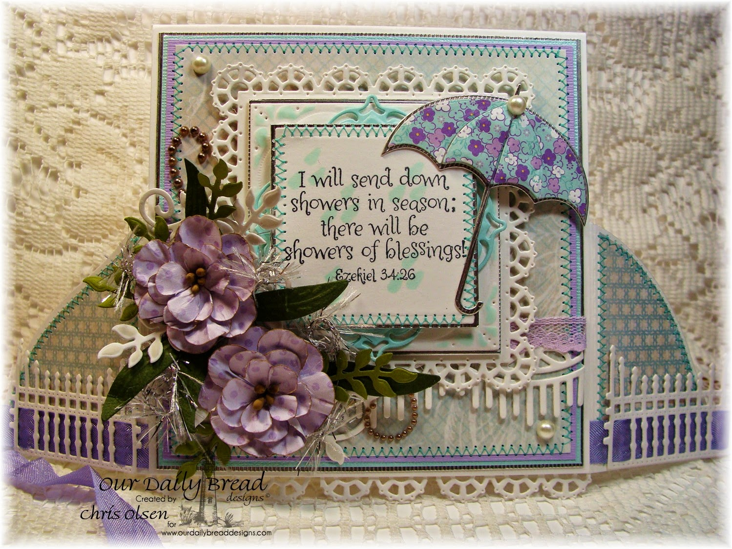 Our Daily Bread Designs, Umbrella die, Showers of blessing, Layered Lacey Squares die, Fancy Foliage, Beautiful Borders, Aster die, Shabby Rose Collection, gilded gate die, designer-Chris Olsen, Twinkles Glow with Stamps