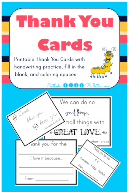 Catholic Kids Bulletin Thank You Cards. Help kids write their own thank you notes with printable notes including Saint Quotes and scripture.