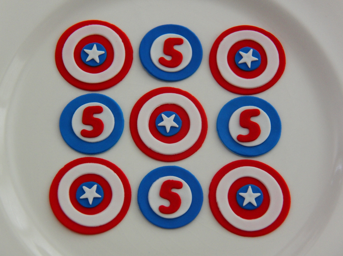 Captain America 5th Birthday Cupcake Toppers