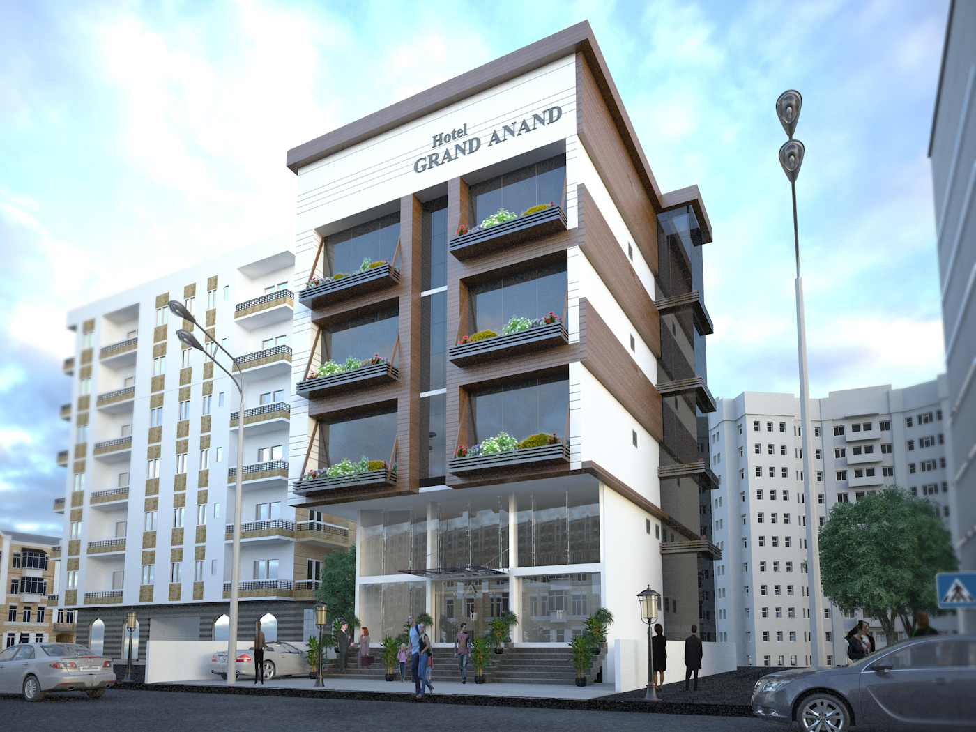 Hotel grand anand exterior design shyam clement for Hotel exterior design