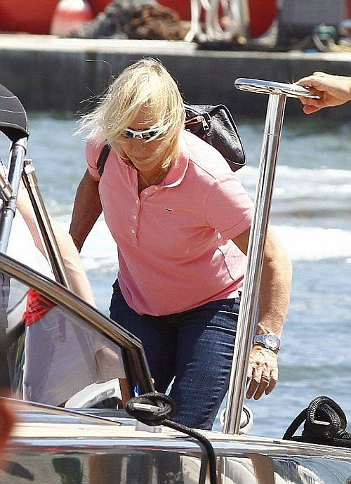 Martina Navratilova soaked in Saint Tropez on Thursday afternoon, July 21, 2014 wearing a blue bikini that left very little to imagination.