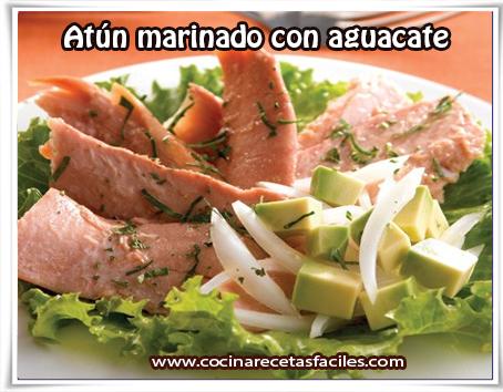 Recetas de pescados y mariscos, atún marinado con aguacate