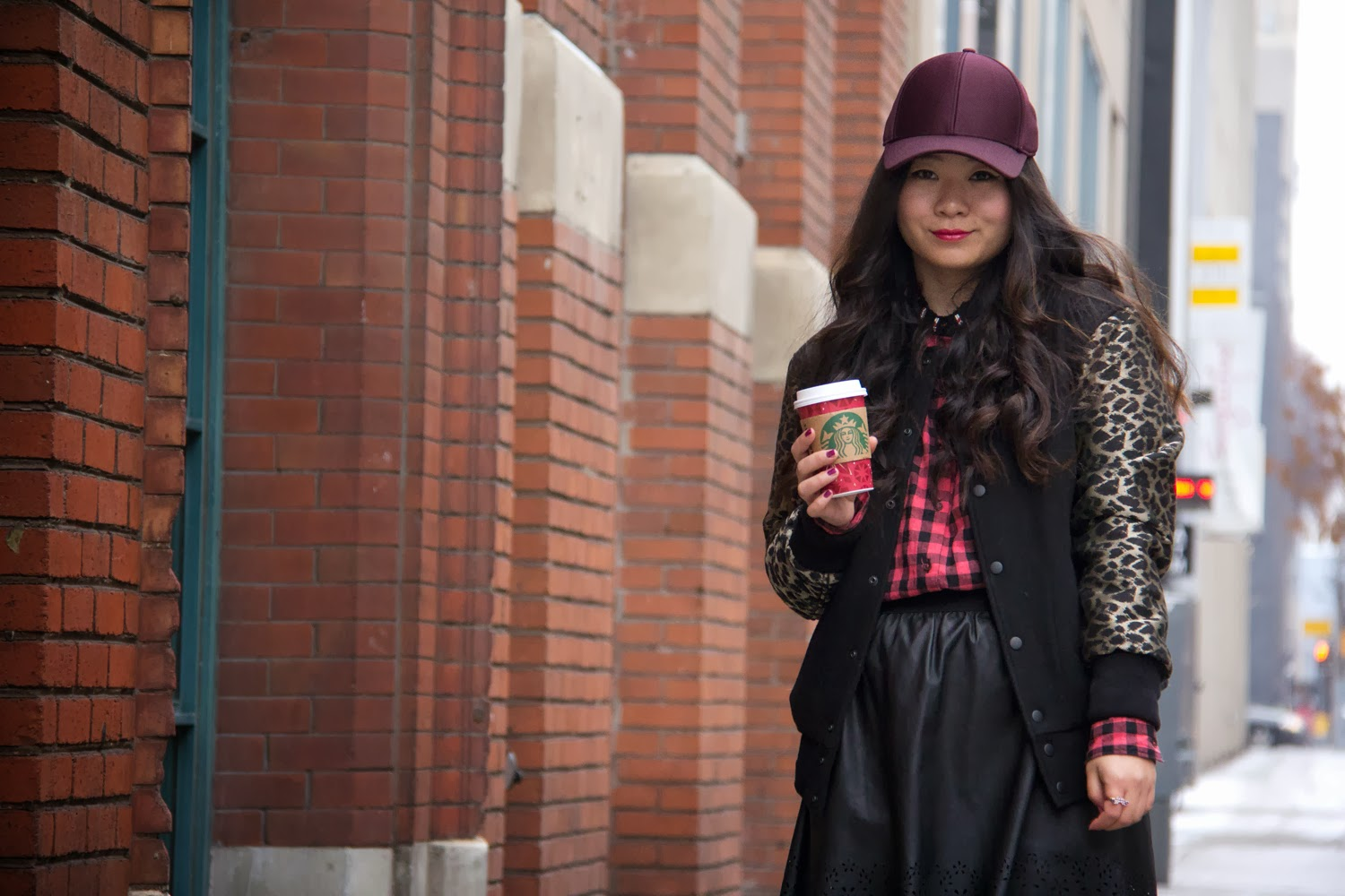 Burgundy-Hat, Checkered-Shirt, Varsity-Jacket, Faux-Leather-Skirt