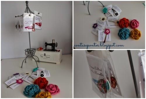 Alfinetes e ganchos em crochet e tecido