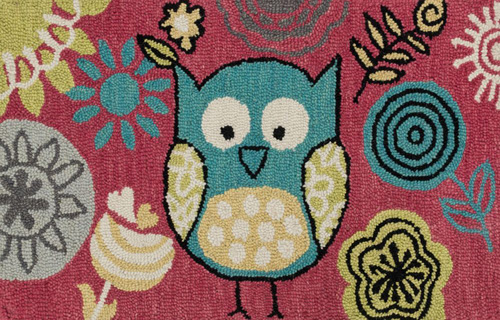 {From The Top: Pink Owl Rug, Green Owl Rug, Rainbow Rug, Umbrellas Rug}