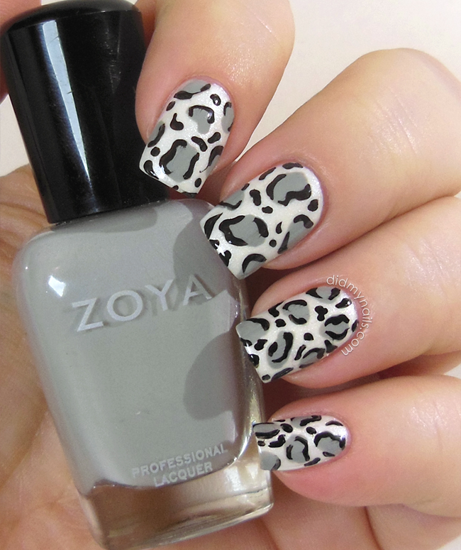 Nail Cake Blue Black Splodges Cow Print: Did My Nails: Snow Leopard Nail Art