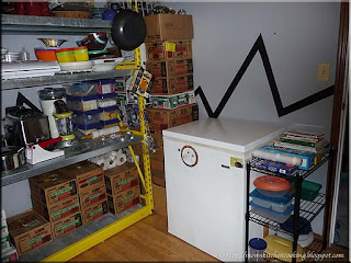 small freezer on the south wall of the pantry to the right of the door