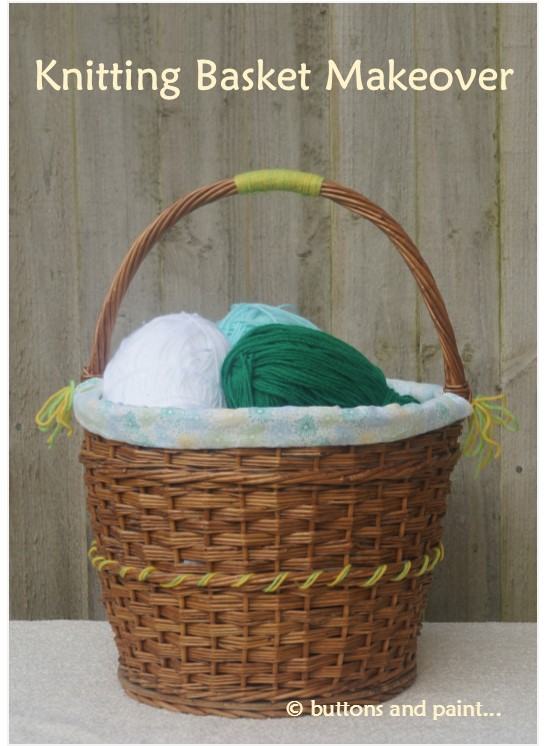 Knitting Baskets Uk : Buttons and paint a knitting basket makeover