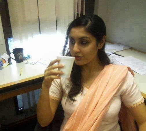 Sexy Office Girl Showing Hot Body ANd Drinking Hot Coffe