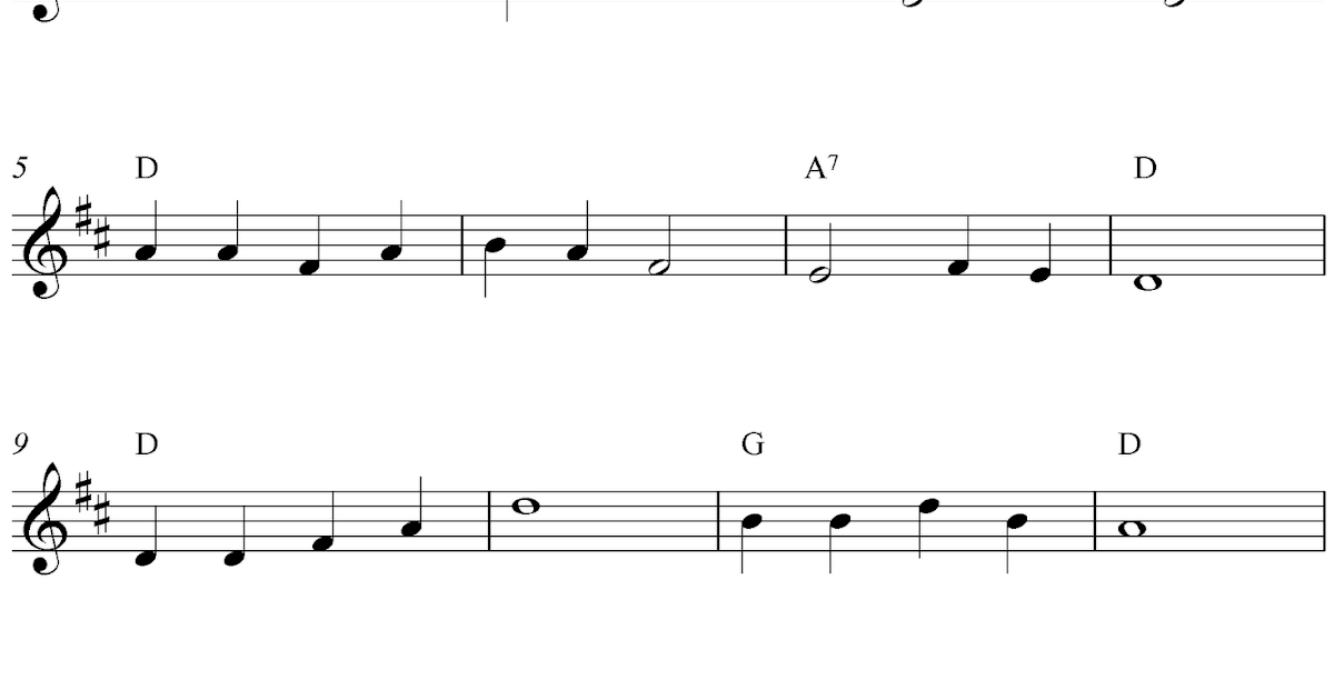 Free easy flute sheet music, Camptown Races