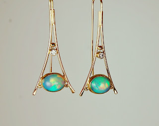 Beautiful triangular opal earrings boston/cambridge