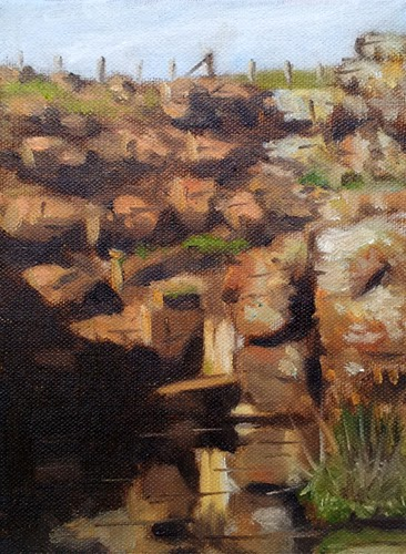 Oil painting of a rock face with pool of water at the bottom, and a fence above.