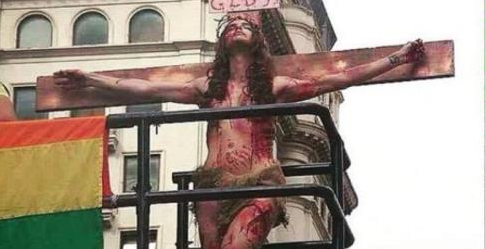 Thousands of Homosexuals Flood The Streets To Perform Mock Crucifixion Of Jesus