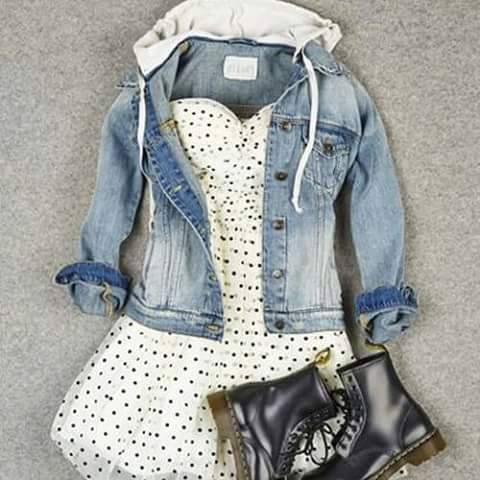Jeans Jacket, Dotted Dress, Shoes | Outfits