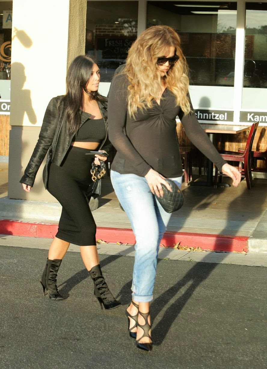 Photos of Kim and Khloe Kardashian Flaunting Famous Curves as They Head Out in Los Angeles