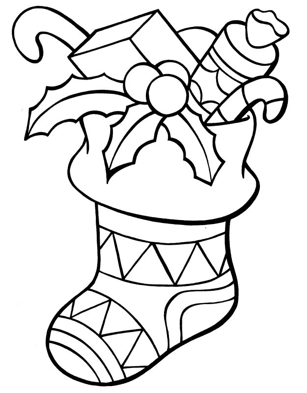 Christmas Stocking Coloring Pages title=
