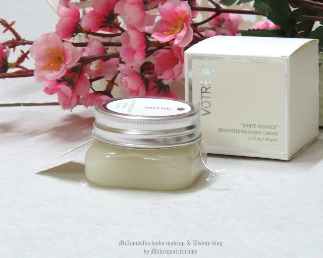 "Votre ""White Essence"" Brightening Night Creme Review, Pictures and Price, Votre Skin care range, New launch Votre products, Votre products review, Indian beauty blog, Indian makeup blog, Best night cream for all skin types, Best brightening night cream, Night cream review, Bright skin, luminous skin, Skin care for dry skin type, night time skin care routine for dry skin type"