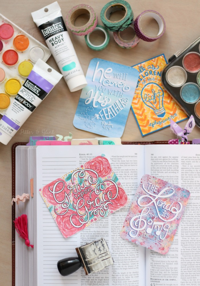 Free Hand-Lettered Watercolor Journaling Cards--Download these printable freebies to add to your Bible pages! www.pitterandglink.com