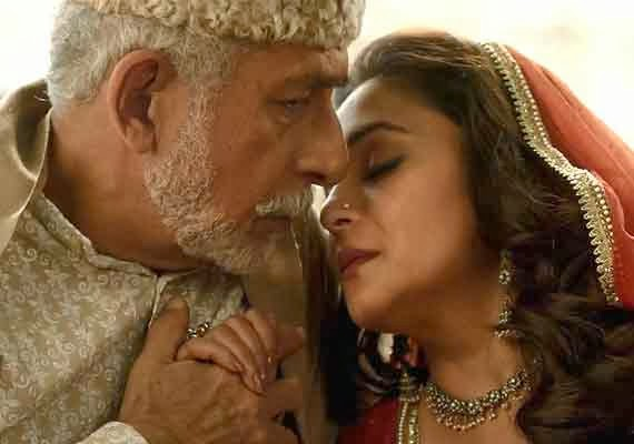 "Naseeruddin Shah as ""Khalujaan"" and Madhuri Dixit as ""Begum Para"" in Dedh Ishqiya, Directed by Abhishek Chaubey"