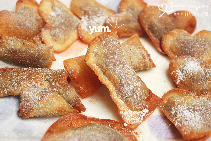 Hearts in My Oven: Nutella Wonton Hearts & Rolls